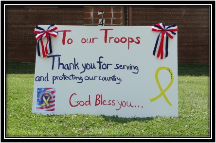 "Hand Painted ""Thank You"" sign for local national guard troops being deployed"
