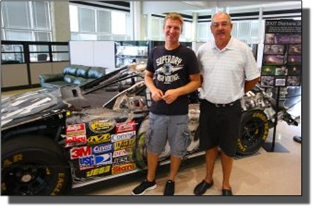 clint-bowyer-and-bill-junker-in-showroom-jan-2013