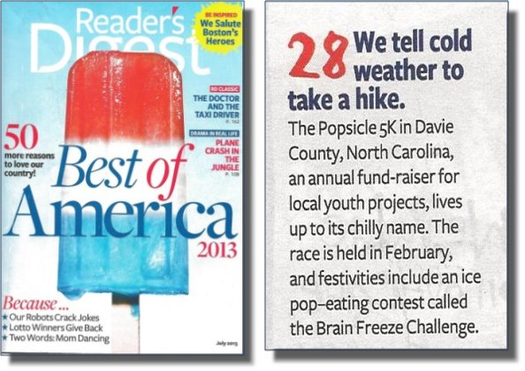 GO Davie SURF Board! Reader's Digest Cover Story Features Davie Community Foundation SURF Board Popsicle 5k Run