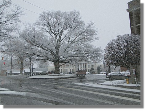 Downtown Mocksville Snow