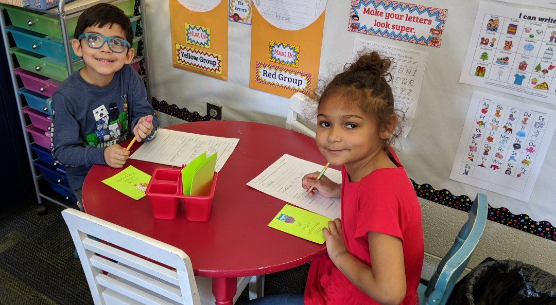 Ismael Barrera, LaFaith Hall, students in Mrs. Boger's class working on sight words