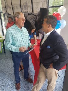 Bermuda Run Mayor Ken Rethmeier chats with Tru-Taekwondo co-owner Philip Averett