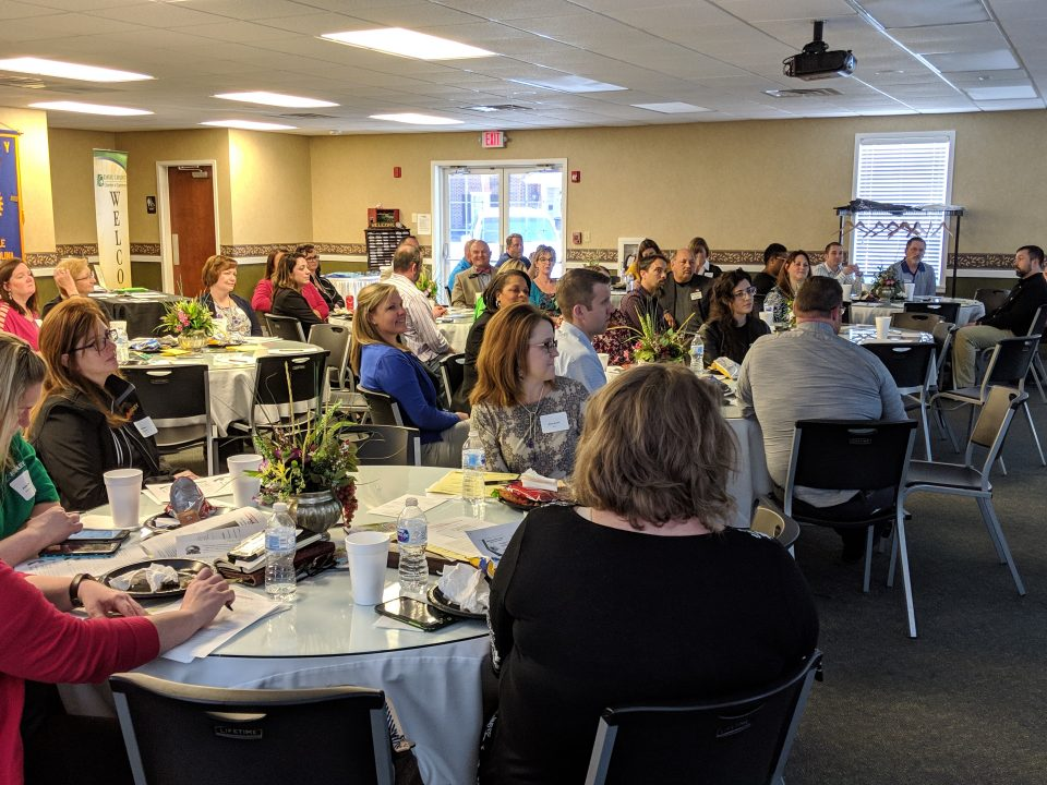 Local plant and human resource managers listen as David Hollars, executive director of Centralina Workforce Development Board discusses the challenges of attracting and retaining a talented workforce.