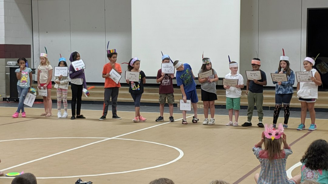 Mary Lynn Bullins and Theresa Carter's third-graders shared what they learned about the Wampanoag, Comanche, Pueblo, Pomo, and Chinook tribes