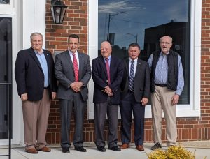 Welcoming Skyline National Bank to Mocksville - L-R, Rodney Halsey, EVP and COO Skyline National Bank, Chris Pardue, Greg Edwards, Blake Edwards, and Terry Bralley