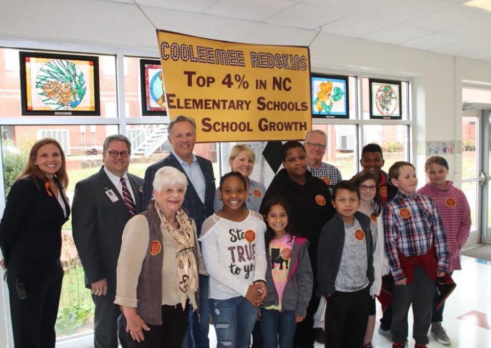 Lt. Gov. Dan Forest celebrates Cooleemee Elementary becoming one of the top four percent elementary schools in the state for academic growth. Courtesy of Lt. Gov. Dan Forest's Facebook page.