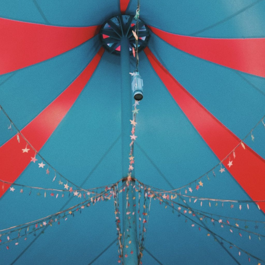 The roof of a colorful circus tent for a post about auditions for the show Barnum
