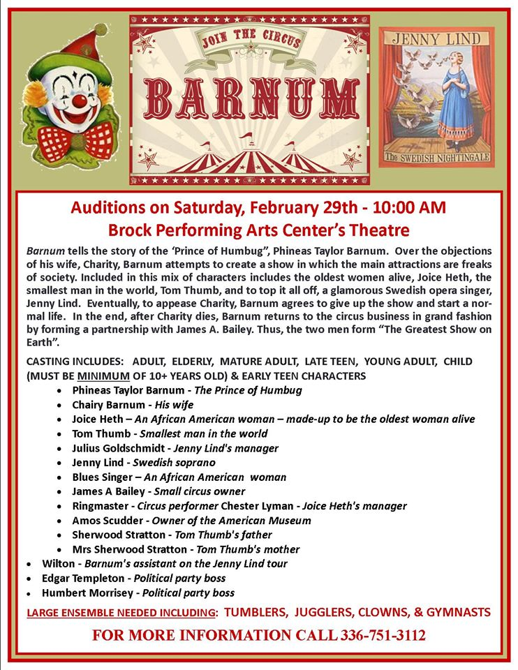 Image shows audition and show information for the play, Barnum Auditions to be held February 29 at the Brock performing arts center