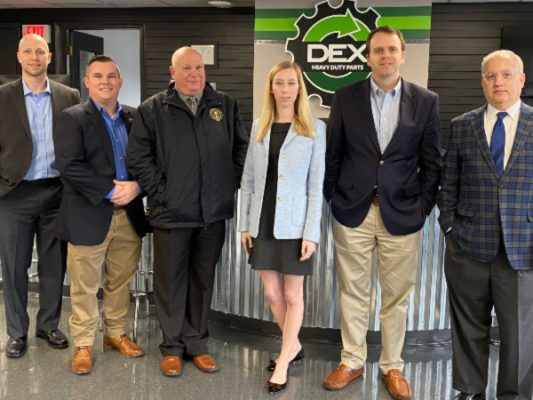 (L-R) Carey Hubbard DEX Advance, NC site manager;  Darin Redmon, DEX director of 0perations; Mike Fenley, field representative for U.S Senator Richard Burr; Stephanie Blair, constituent advocate/regional representative for U.S. Senator Thom Tillis;  Kyle Bridges, district director for U.S. Congressman Ted Budd; Dean Myers, deputy chief of staff for U.S. Senator Richard Burr.