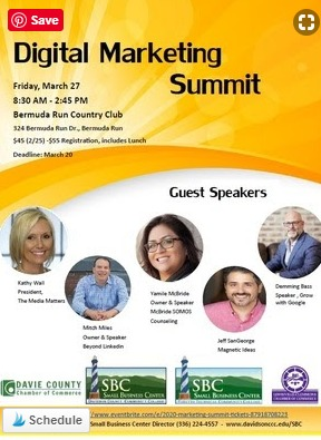 Would you like to use digital marketing to maximize your business but don't know how? Attend the 2020 Digital Marketing Summit on Friday, March 27th, from 8:30 a.m. - 3 p.m. at the Bermuda Run Country Club.