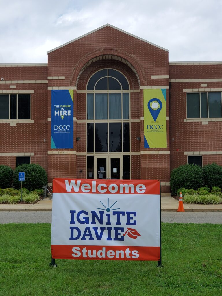 IGNITE Davie Scholarship Program - Sign outside of Davidson Community College Davie Branch