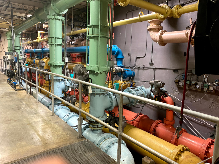 This pipe system at the Sparks WTP brings in untreated water from the Yadkin River and transfers treated water to a one million gallon underground clean water containment unit.