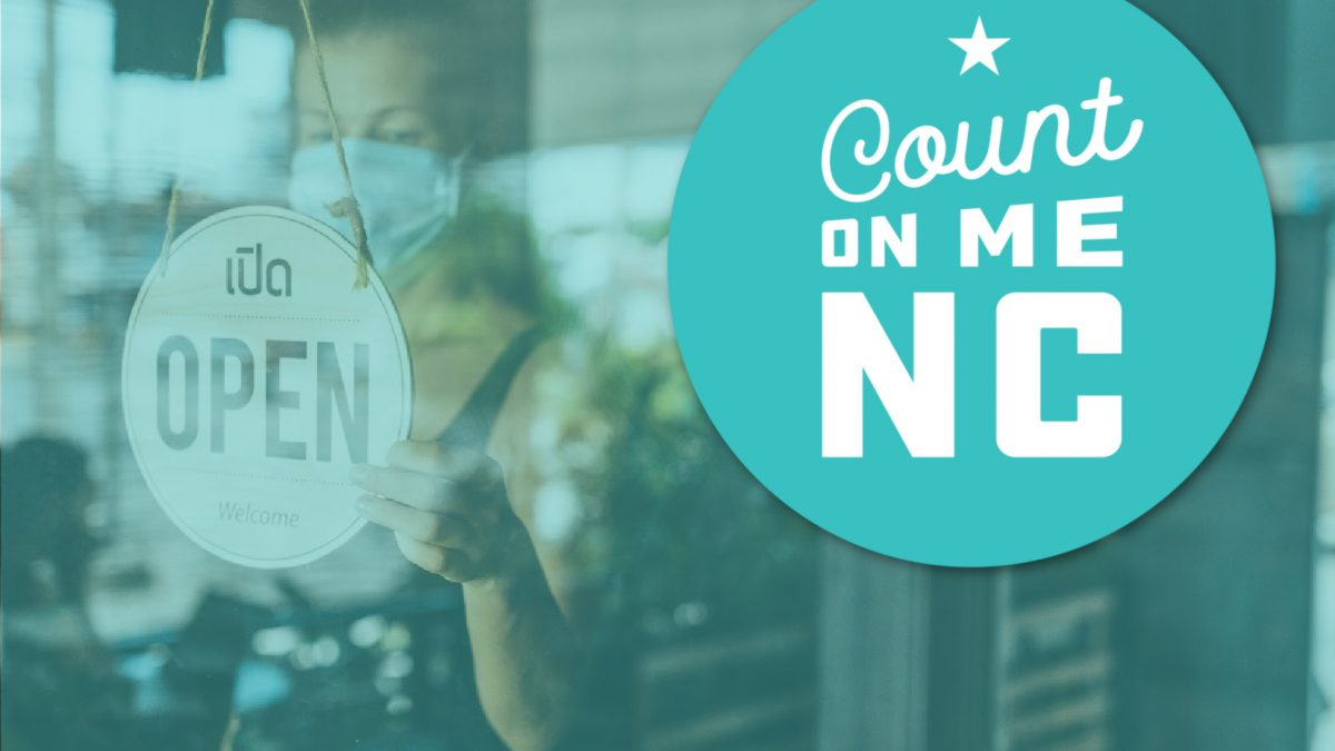 The Count on ME NC Program and Restaurant door that says open