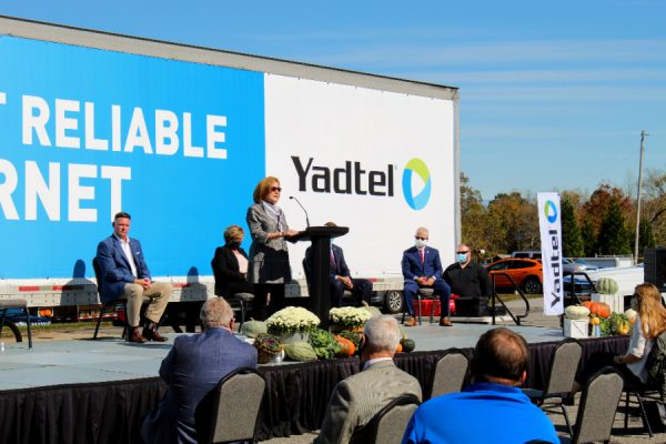 United States Department of Agriculture (USDA) Deputy Under Secretary for Rural Development Bette Brand presents a $2.3 million grant to Yadtel to expand high-speed broadband internet to unserved or underserved areas in Davie, Yadkin, and Iredell counties.