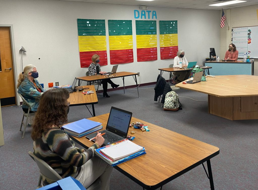 First Grade PLC meeting at Pinebrook Elementary School