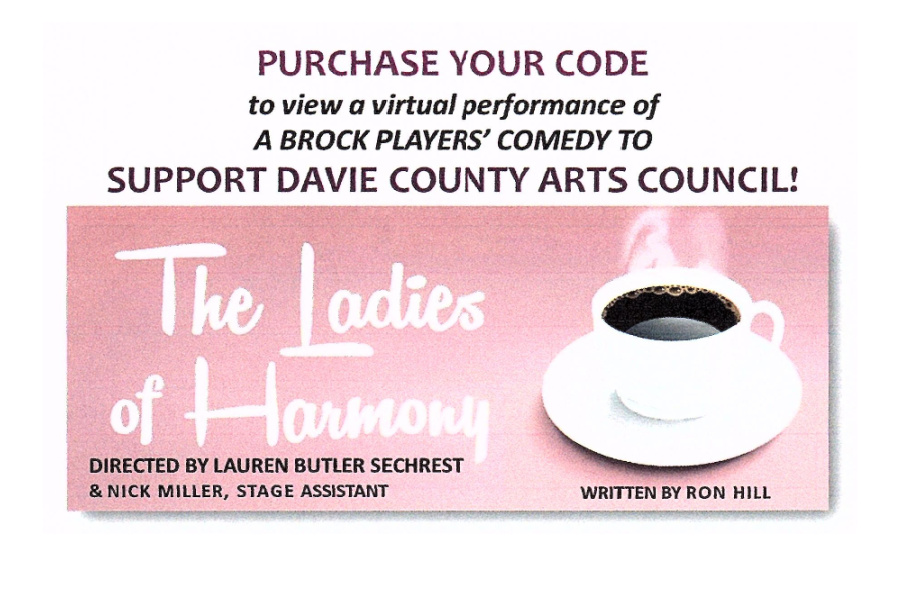 Poster for the Ladies of Harmony online virtual play by Davie County Arts Council
