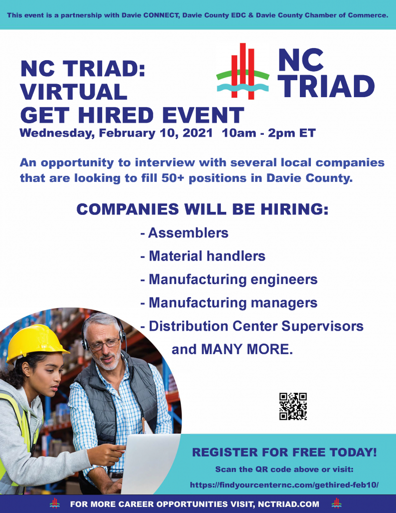 Davie County Virtual Job Fair Flyer for the NC Triad area.