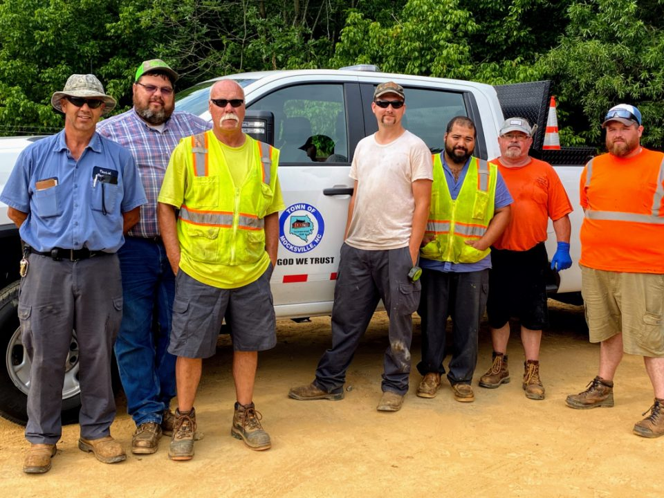 L to R- Jeff Lagle, Brian Moore, Dale Thompson, Garrett Fulton, Brandon Horne, Patrick Beck, and Travis Disher Not pictured is Lawrence Potts - TOwn of Mocksville's Public Works Department