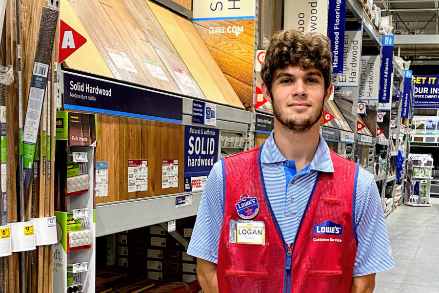 Logan Ballou-Tomel works full-time at Lowe's Home Improvement in Mocksville while studying to become a surgical technologist