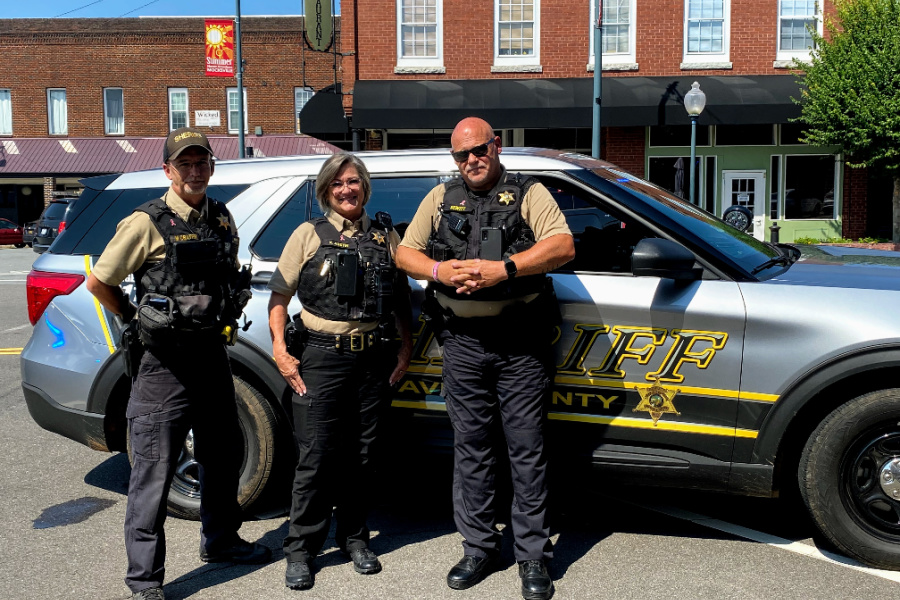 (L to R) Lt. Mark Crater, Officer Karen Austin, and Lt. Bob Dewitt of the Davie County Sheriff's Office are three of the officers that patrol the Town of Mocksville.